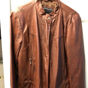 Bernardo faux leather bomber style jacket large.